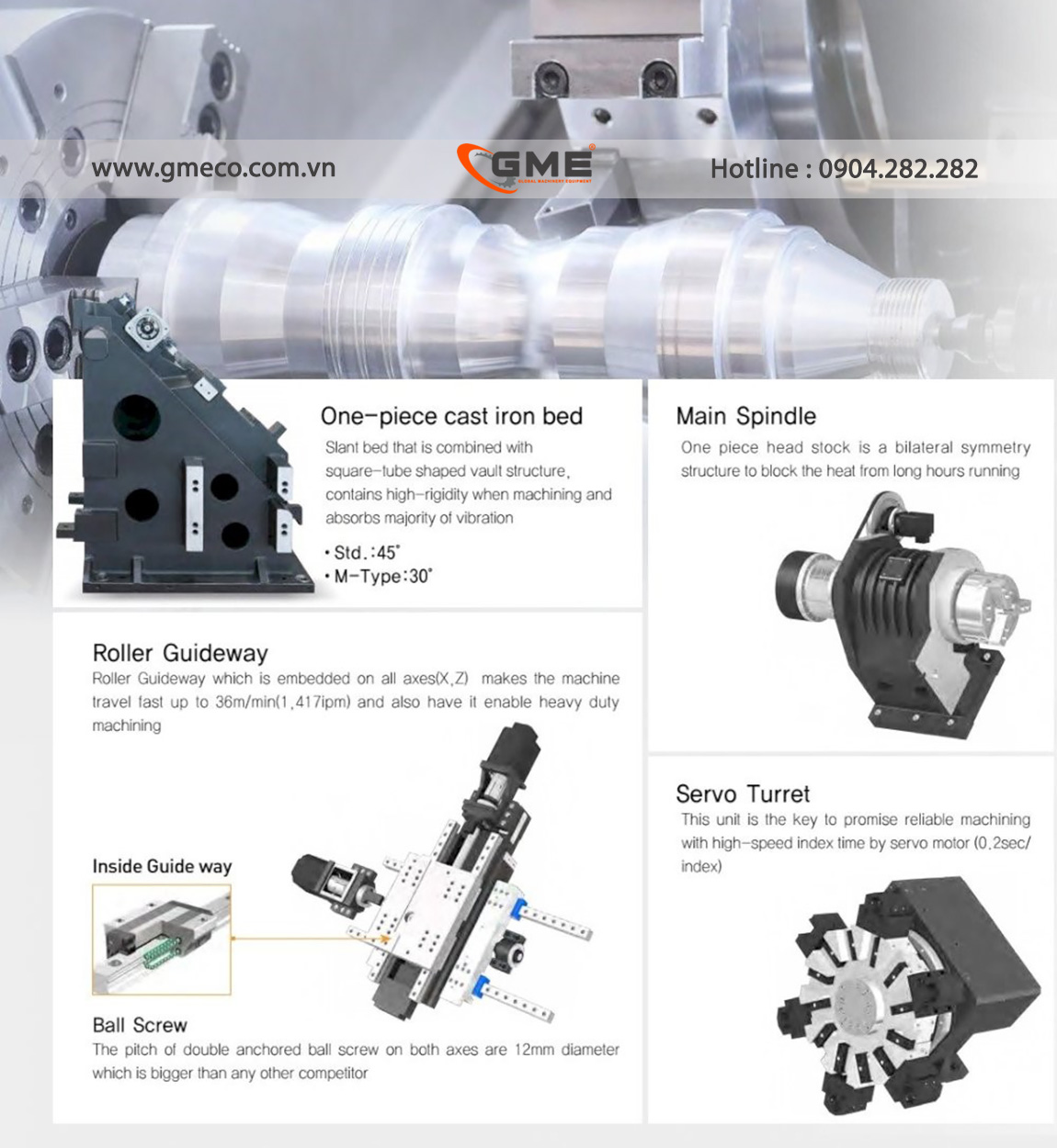 Máy tiện CNC với trục chính đúc nguyên khối